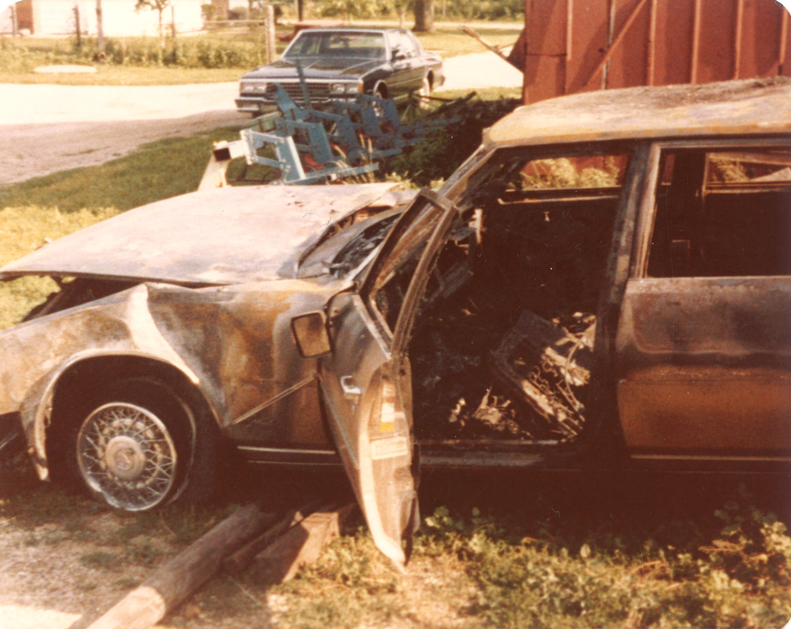 Burned Cadillac Seville-drivers door&front left corner July1979