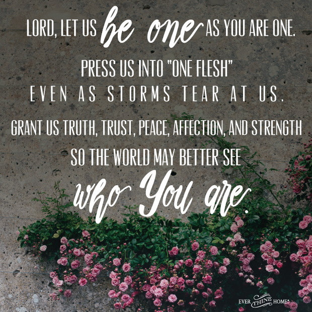Lord, Let us be one as you are one...