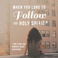 When You Long to Follow the Holy Spirit* (*…and Then You Wonder What Happened)