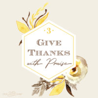 Give Thanks by Praising: Four Weeks of Gratitude Week 3
